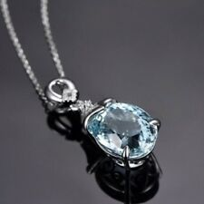 S925 Sterling Silver Round Aquamarine Pendant Necklace