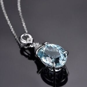S925 Silver Round Aquamarine Crystal Pendant Necklace