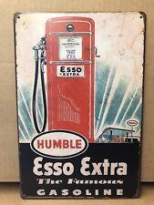 ESSO EXTRA HUMBLE GASOLINE PUMP METAL TIN WALL GARAGE DECOR 20x30 Cm