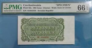 "1961 Czechoslovakia 5 Korun PMG66 GEM UNC <P-82s> ""Specimen"""
