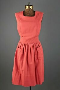 VTG Women's 40s 50s Pink Waitress Uniform Dress / Jumper Sz S 1940s 1950s
