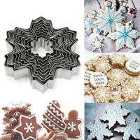 9pcs Christmas Stainless Steel Snowflake Cookie Cutter Cake Baking Decor Tools