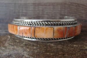 Native American Jewelry Sterling Silver Inlay Spiny Oyster Turquoise Bracelet...