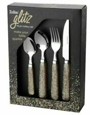 Zodiac 16 Piece Gold Glitter Cutlery Set Stainless Steel & Plastic Handles