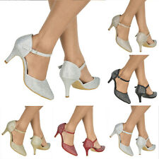 Para Mujer Brillante Diamante Tacón Alto Zapatos de noche fiesta boda con Tiras señaló