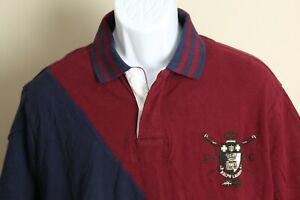 Polo Ralph Lauren Men's burgundy & blue Rugby Custom Slim Fit polo shirt 2XL