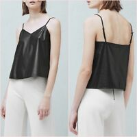 Black Faux Leather Cami V Neck Top Mango Size S M  UK 8 10 US 4 6 Zara Blogger ❤