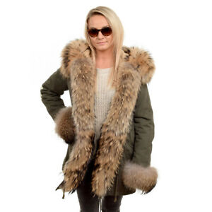 Military Parka With Hood Cuffs & Front of Raccoon Fur! Jacket Coat Real Fur FOX