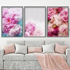 Set of 3 - Pink Blue Peonies Floral Abstract Blush Flower Wall Art Print Poster