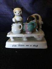 Porcelain Fairing Figural Group of Two Cats,One Dominating the Food Bowl