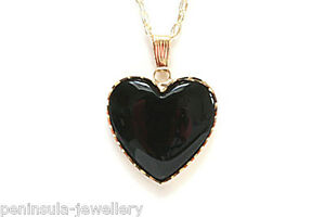 """9ct Gold Black Onyx Heart Pendant and 18"""" Chain, Gift Boxed Made in UK"""