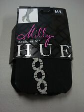 NWT Milly Designs For Hue Anchor Chain Backseam CT Tights Size M/L Black #281T