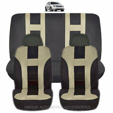 NEW BEIGE & BLACK POLYESTER AIRBAG READY SEAT COVERS COMBO 6PC SET FOR CARS 1121