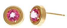Mystic Pink Topaz Earring 5mm  14kt Yellow Gold
