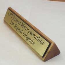 Premium Oak Wood Personalised Wooden Desk Name Plate, Plaque, Sign, Engraved
