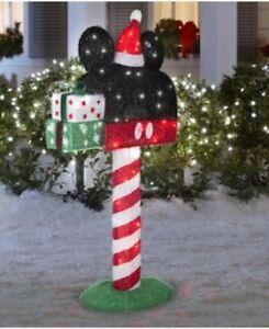 "Disney Christmas Animated Tinsel SANTA MICKEY MOUSE MAILBOX Yard Decor NEW 50"""
