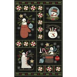 BTP Maywood Snowdays Snowman Holiday Christmas Flannel Panel 27 Inches Fabric