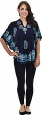 Womens Kimono Sleeve Poncho Dress Summer Casual Wear Blue Short Top Blouse