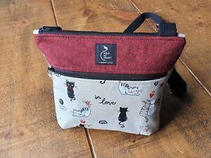Cat bag. Cartoon cat cross body bag. Handemade