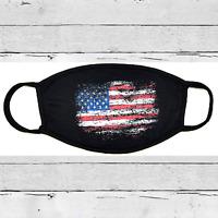 Face Mask - Soft Cotton Unisex Washable Reusable - AMERICAN FLAG- BLACK