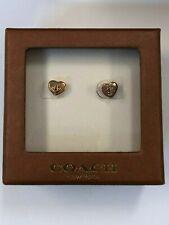 Coach Earrings Turn Lock Heart Stud Studded Jewelry Rose Gold F54490