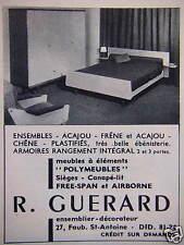PUBLICITÉ 1959 R.GUERARD MEUBLES A ÉLÉMENTS POLYMEUBLES SIÈGES - ADVERTISING