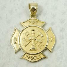NEW Solid 14K Yellow Gold Firefighter Fire Rescue Pendant Charm, 2.3 grams