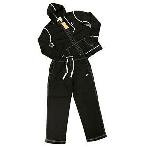 True Religion Sweatsuit Mens Size XL Black Hoodie Sweater w/ Pants Matching Set