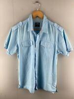 Rusty Mens Blue Collared Short Sleeve Dual Pocket Button Up Shirt Size Medium