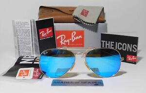 Ray-Ban Aviator Pilot Gold-Blue Flash/Mirror Lens Sunglasses RB3025 112/17 58mm