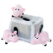 ZippyPaws Burrow Squeaky Hide and Seek Plush Dog Toy Pig Pen