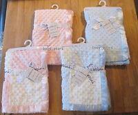BABY POPCORN PRAM CRIB BLANKET SATIN EDGE BOYS GIRLS PINK BLUE SUPERSOFT WRAP