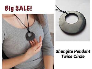 Shungite Pendant Twice Circle Polished Necklace Protection Healing Against EMF