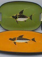 2 Mid Century Modern Atomic Fish Serving Trays Orange & Green