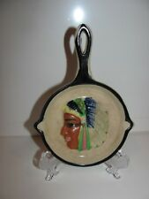 VINTAGE CERAMIC ASHTRAY----SMALL FRYING PAN  ----HANDPAINTED IN JAPAN