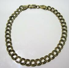"""925 Sterling Silver Italy Gold Colored HAN Double Cable Link Charm Bracelet 8"""""""
