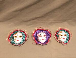 Set of 3 - Mardi Gras/Carnival/Venetian Ceramic Face Masks - Wall Hanging Decor
