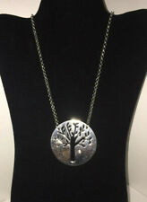 """Long Silver Colored Chain With Large Round Tree Pendant & Crystal VGC 15.5 """""""