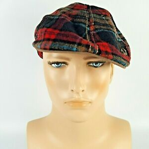True Religion Men Tartan Plaid Flat Cap With 40% Wool/Polyester/Leather Size L