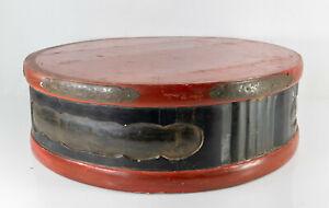 Massive Antique Korean Japanese Decorative Red and Black Lacquer Pedestal Base
