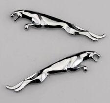 2 Pcs Silver Chrome Alloy Side & Fender Emblems Badge Decal Sticker For Jaguar
