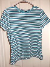 TALBOTS Petites Blue Striped Cotton Blend S/S Pullover Shirt Sz SP