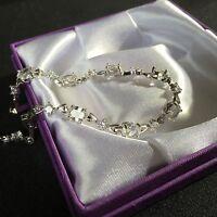 "GB White sim diamonds 6.5"" to 8"" real white gold filled bracelet Plum UK BOXED"