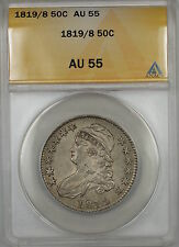 1819/8 Large 9 Overdate Capped Bust Silver Half Dollar 50c Coin ANACS AU-55