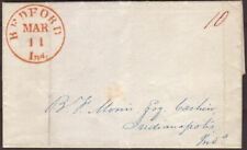 1842 PRE-STAMP ENTIRE BEDFORD, INDIANA, TO INDIANAPOLIS, USA TO BANK CASHIER