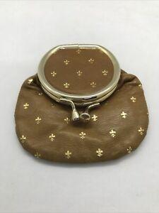 VTG Small Italian Coin Pouch Beige leather w Gold Fleur de Lis Print & Mirror