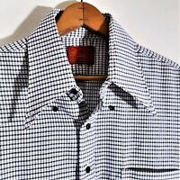 Vintage 70s Kings Road Sears Disco Shirt 1970s Geometric Check Camp Mod EUC Sz L