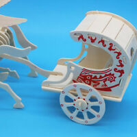 3D Puzzle Wooden Model Toy Carriage Puzzle Woodcraft Assembly Building Kit CF
