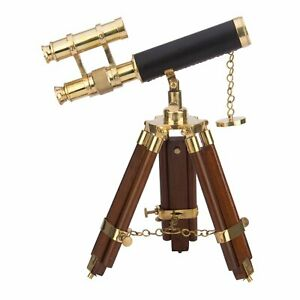 Brass Double Barrel Telescope with Tripod Nautical Gifts Nautical Antique Gold