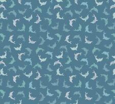 Lewis & Irene - 'Spindrift'  - Dolphins on Dark Blue 100% Cotton quilt/craft